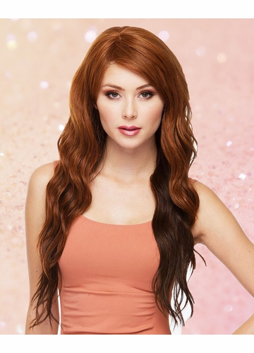 Heat Safe Long Loose Curl Wig Lulu with Side Swept Bangs