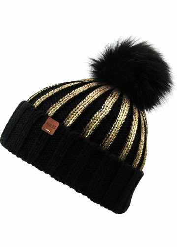 Heavy Metal Gilded Beanie with Fur Pom