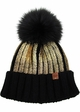 Heavy Metal Gilded Beanie with Fur Pom inset 1