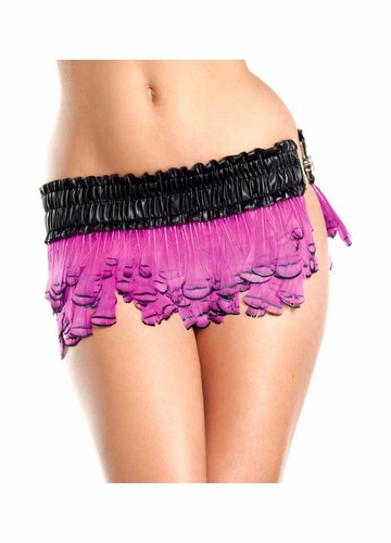 Hot Pink Layered Feather Mini Skirt