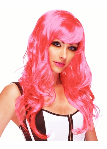 Hot Pink Long Curly Wig Burlesque