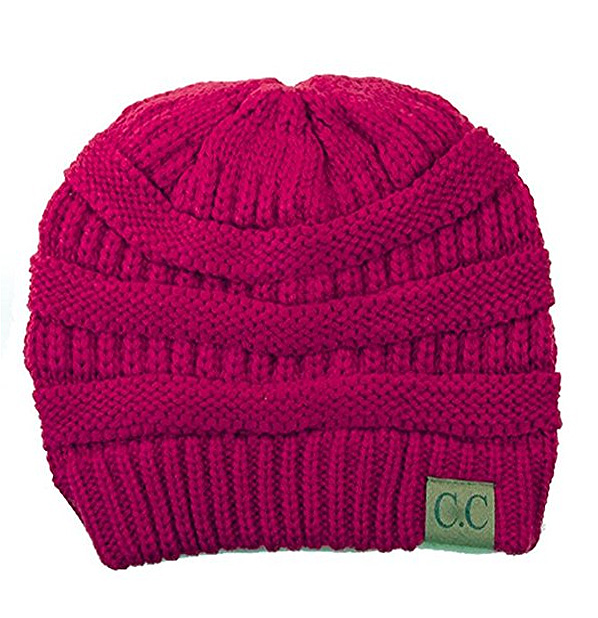 Hot Pink Ribbed Knit CC Beanie Hat inset 1 ... 80febdff42a