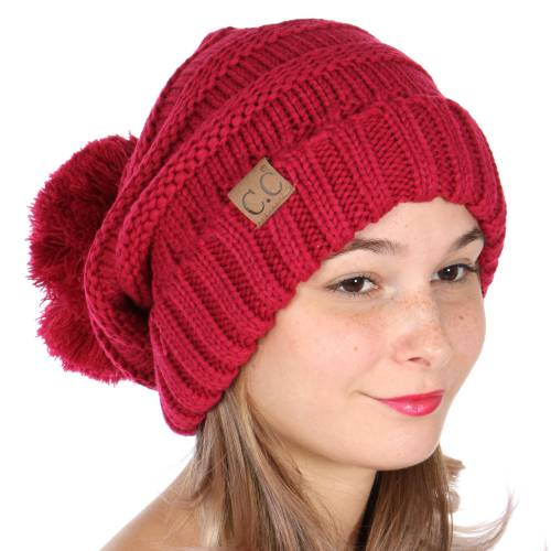 Hot Pink Slouchy CC Beanie Hat with Pom Pom inset 1 ... f1a1a288ae1