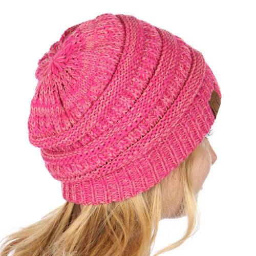 97b333768cdf38 ... Hot Pink Two Tone Knit Beanie Hat inset 2