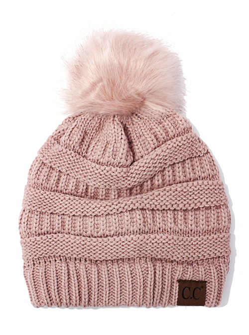 cf2f8c56009 Indi Pink CC Knit Beanie Hat with Matching Fur Pom Pom