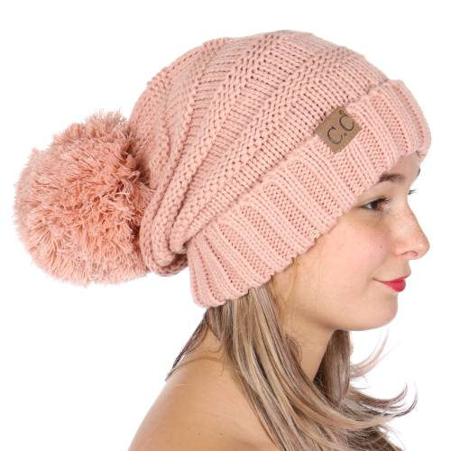 a6d992d0 Indi Pink Slouchy CC Beanie Hat with Pom Pom