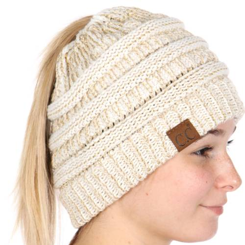 ebcf9ffe34d Ivory Gold Metallic CC Beanie Hat with Open Ponytail