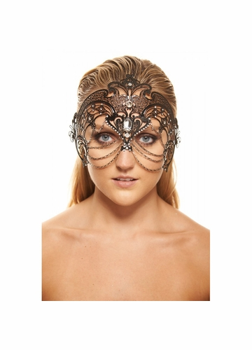 Jeweled Masquerade Mask with Chain Accents