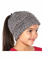 Kids Charcoal Multi BeanieTails Hat with Open Ponytail