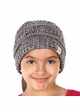 Kids Charcoal Multi BeanieTails Hat with Open Ponytail inset 1