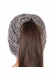 Kids Charcoal Multi BeanieTails Hat with Open Ponytail inset 2