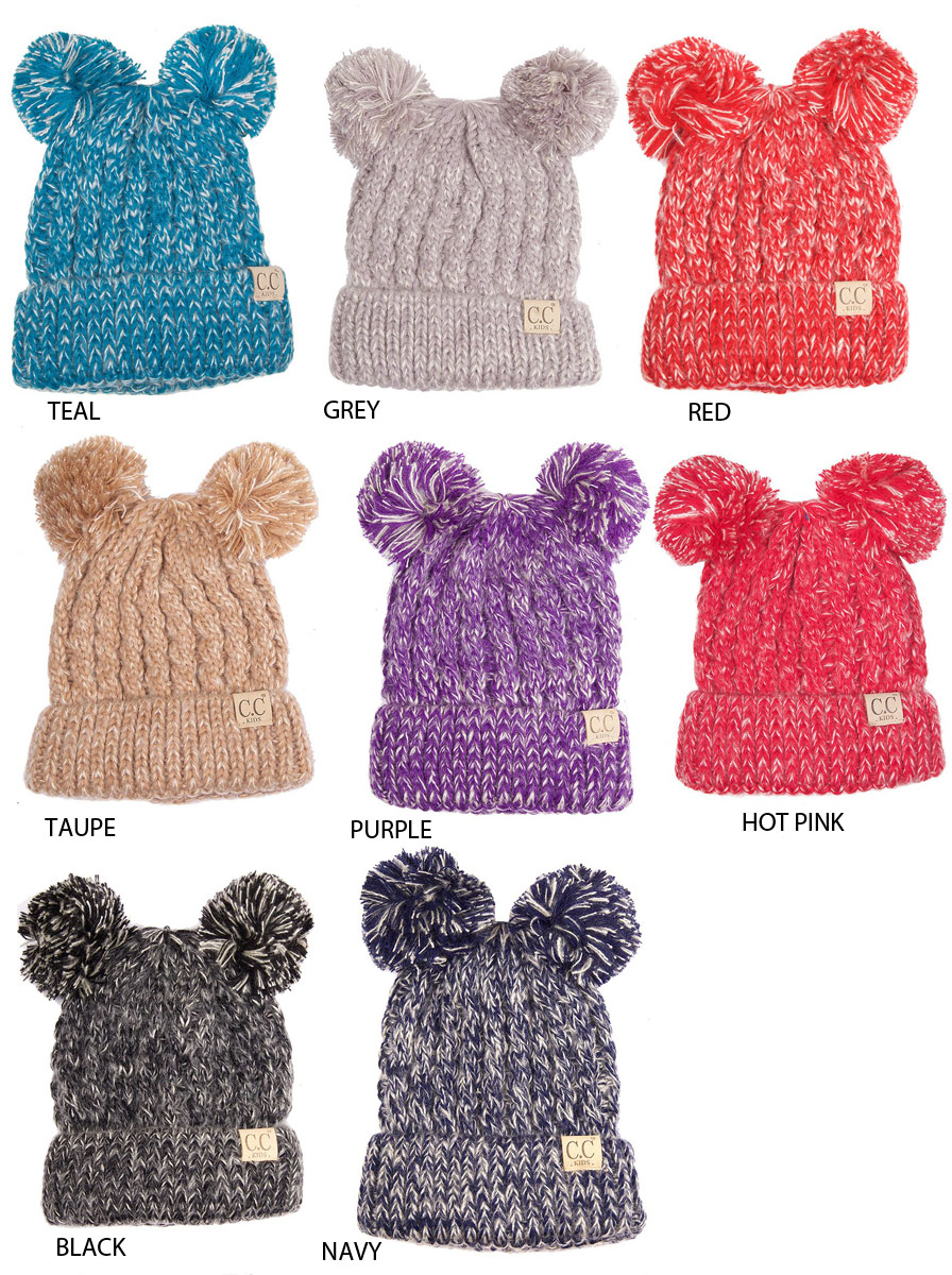 Kids Knit Beanie Hat with Two Pom Poms by CC Brand