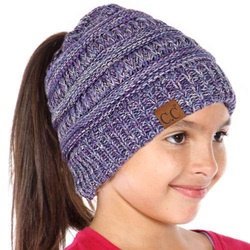 7bfd8f49d81 KIDS Purple Multi BeanieTails Hat with Open Ponytail