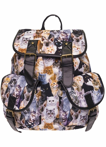 Kittens Photo Print Canvas Backpack from Zohra