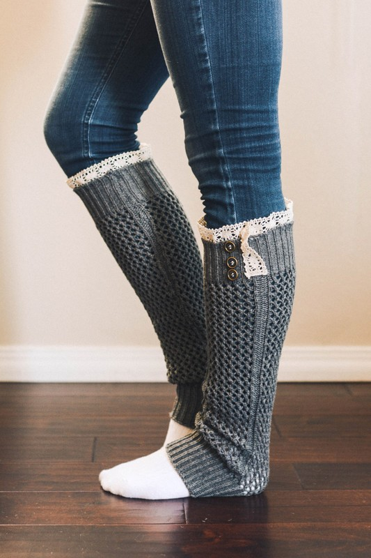 Knit Boot Sock Leg Warmers With Lace Top