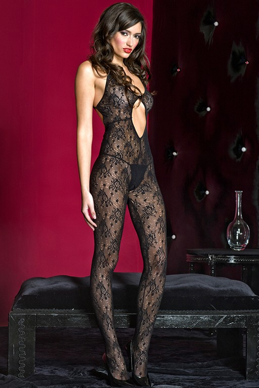 Lace Bodystocking With Strappy Back