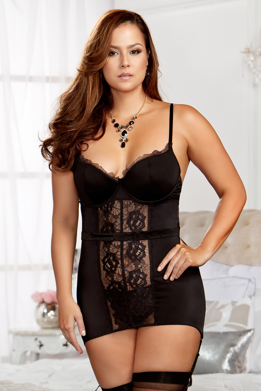 Sale Lace Garter Dress With G String