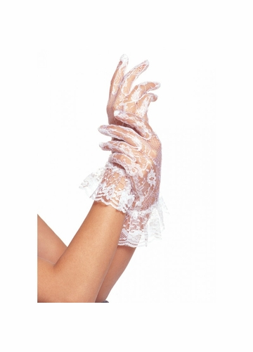 Lace Wrist Gloves with Ruffle Trim