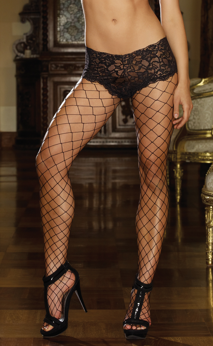 Fence Net Fishnet Pantyhose With Attached Lace Shorts
