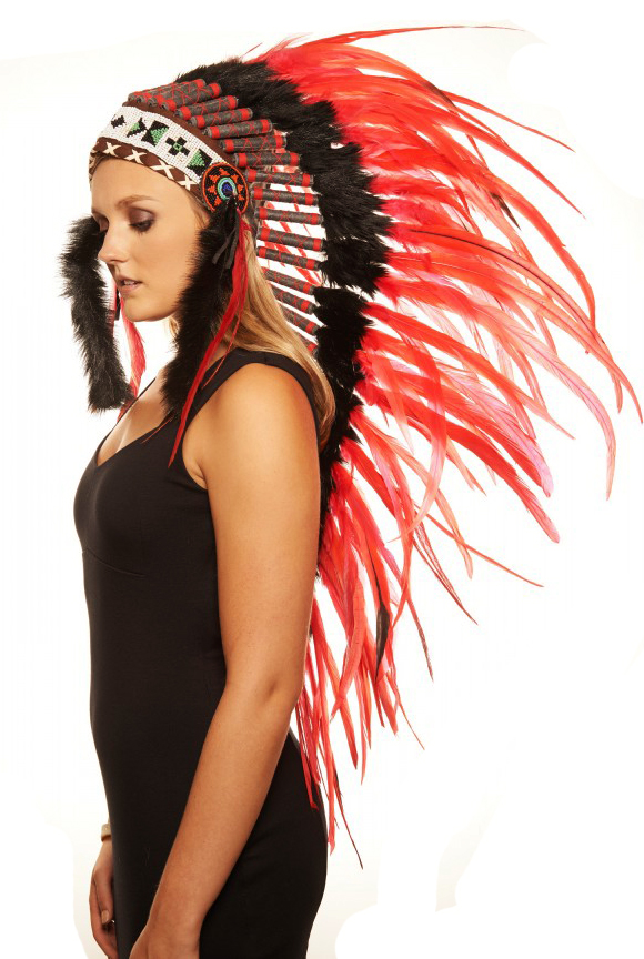 Large Indian Feather Headdress In Red-8242