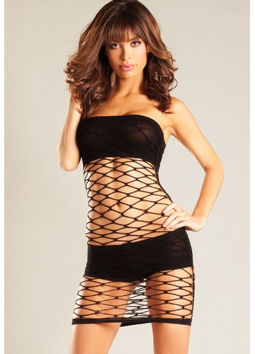 Large Net Dress with Tube Top and Shorts