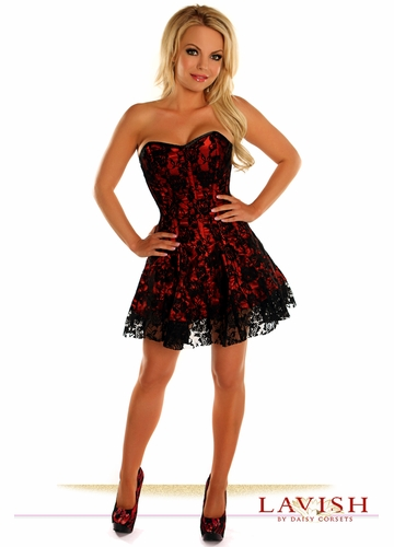 Lavish Red Lace Corset Dress