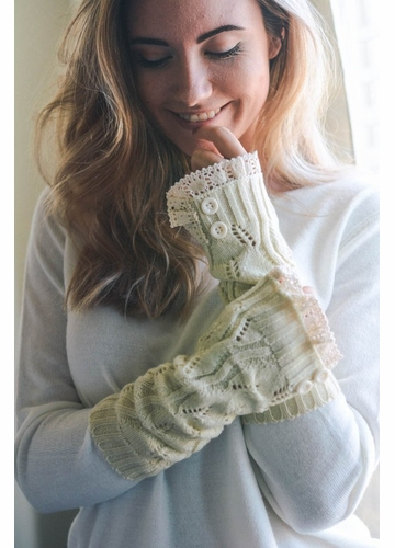 Leaf Knit Armwarmers with Crochet Lace