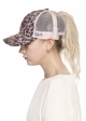 Leopard and Mesh Ponytail Messy Bun Baseball Hat from CC Brand inset 2