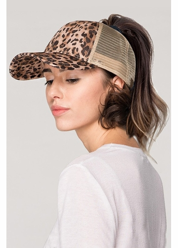 Leopard and Mesh Ponytail Messy Bun Baseball Hat from CC Brand