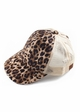 Leopard and Mesh Ponytail Messy Bun Baseball Hat from CC Brand inset 1