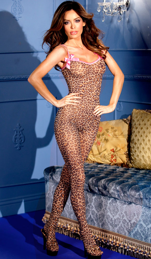 Leopard Print Bodystocking With Pink Accents