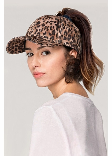 Leopard Print Ponytail Messy Bun Baseball Hat From Cc Brand
