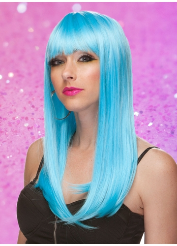 Light Blue Long Straight Wig with Bangs Classy