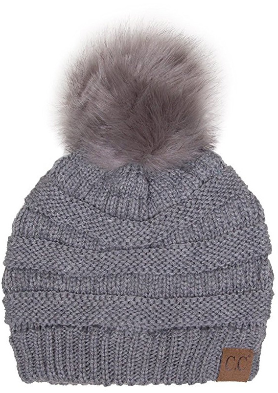 0fd16c567af Light Grey CC Knit Beanie Hat with Matching Fur Pom Pom