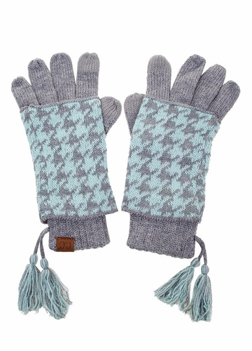 Light Grey Mint Two-Piece Houndstooth CC Gloves