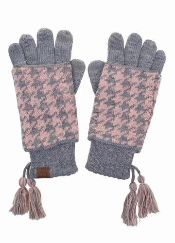 Light Grey Pink Two-Piece Houndstooth CC Gloves