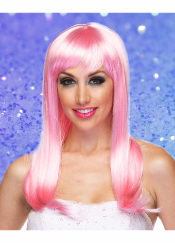 Light Pink Long Straight Wig with Bangs Classy