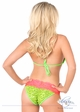 Lime Sequin Pucker Back Bikini with Coral Lace inset 1
