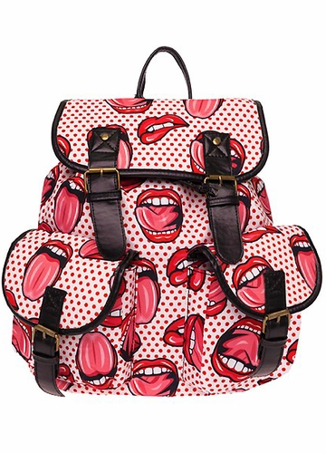 Lips Print Canvas Backpack from Zohra