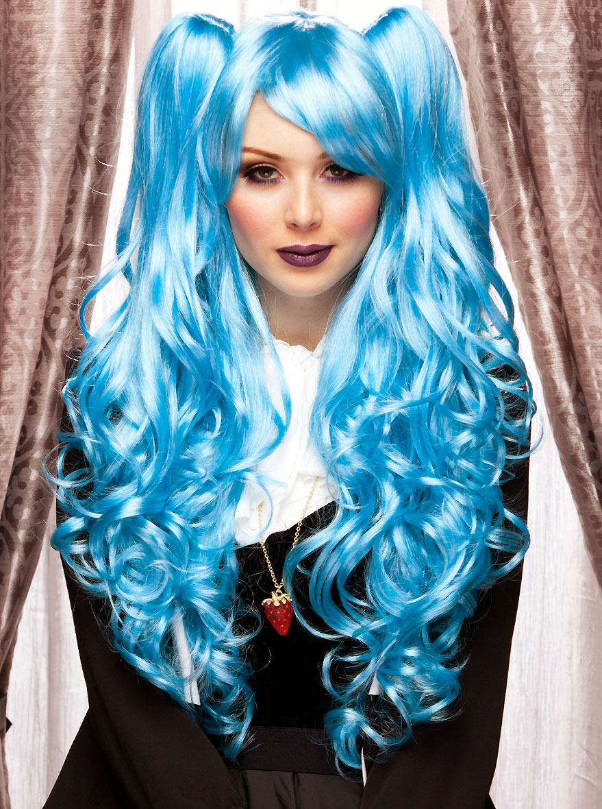 Matte Lipgloss: Long Blue Anime Wig With Bouncy Curls Plus Two Hair Pieces
