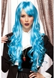 Long Blue Anime Wig with Bouncy Curls Plus Two Hair Pieces inset 1