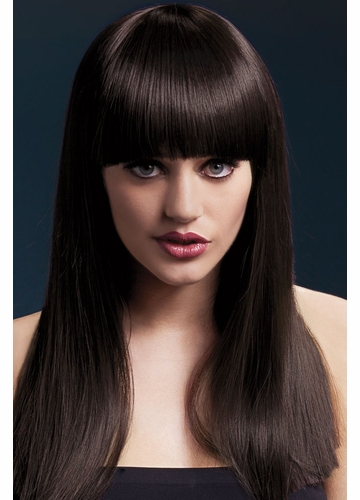 Long Blunt Cut Wig Alexia with Fringe in Brown