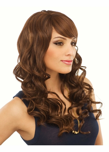 Long Bouncy Curls Human Hair Blend Wig Cadence