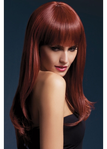 Long Feathered Wig Sienna with Fringe in Auburn