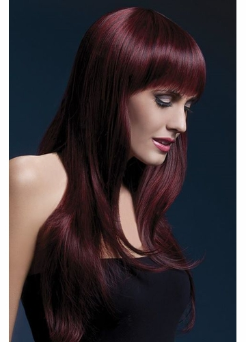 Long Feathered Wig Sienna with Fringe in Black Cherry