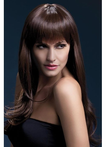 Long Feathered Wig Sienna with Fringe in Brown