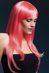 Long Feathered Wig Sienna with Fringe in Coral