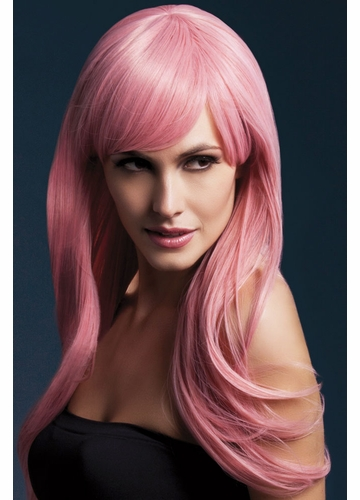 Long Feathered Wig Sienna with Fringe in Pink