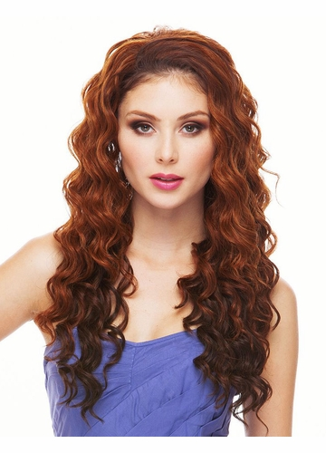 Long Heat Safe Loose Curl 3/4 Wig