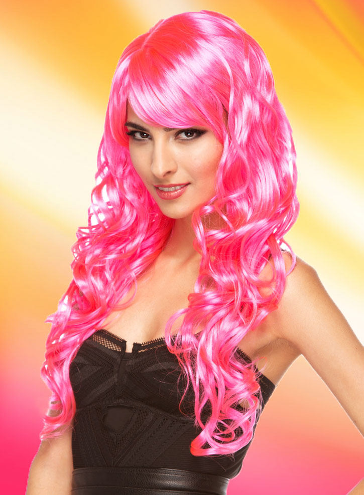 Long Hot Pink Melrose Wig